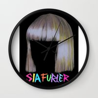 amy sia Wall Clocks featuring Sia head by Melina Espinoza