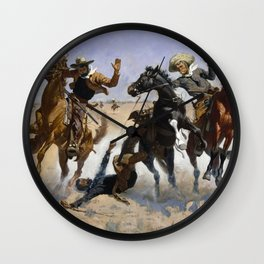 Frederic Remington - Aiding a Comrade, 1890 Wall Clock