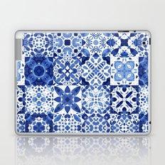 Indigo Watercolor Tiles Laptop & iPad Skin