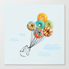 house with donut balloon (up) Canvas Print