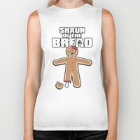 shaun of the dead Biker Tanks featuring Shaun Of The Dead (Shaun Of The Bread) by Creative Spectator
