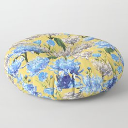 Mums Pattern  |  Yellow-Blue-Cream-White Floor Pillow
