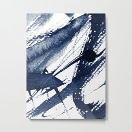 Indigo Watercolor Swash Metal Print