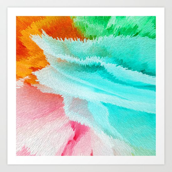 pink orange green and blue Art Print