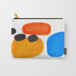 Abstract Mid Century Modern Colorful Minimal Pop Art Yellow Orange Blue Bubbles Ovals Carry-All Pouch
