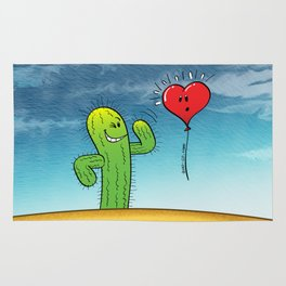 Spiky Cactus Flirting with a Heart Balloon Rug