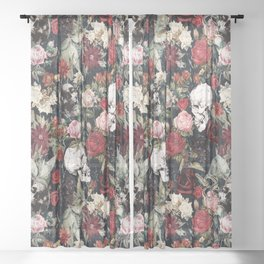 Vintage Floral With Skulls Sheer Curtain