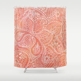 Lacey Pattern on Coral Shower Curtain