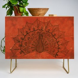 Doodle peacock on red Credenza