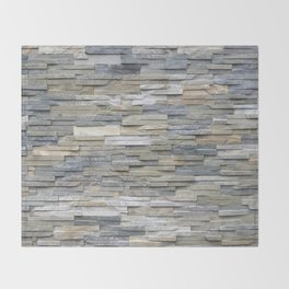 Gray Slate Stone Brick Texture Faux Wall Throw Blanket
