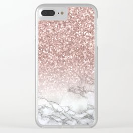 Sparkle - Glittery Rose Gold Marble Clear iPhone Case