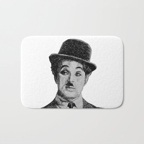 Chaplin portrait - Fingerprint Bath Mat