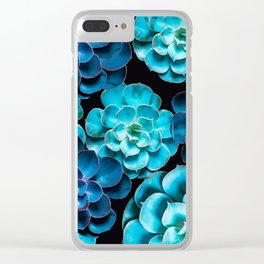 Succulent Plants In Blue And Turquoise Color #decor #society6 #homedecor Clear iPhone Case