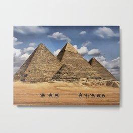 0M-101 - Egypt Pyramids of Giza, Afican desert scenery, Desert pyramids Travel art, Africa Art decor,  Metal Print
