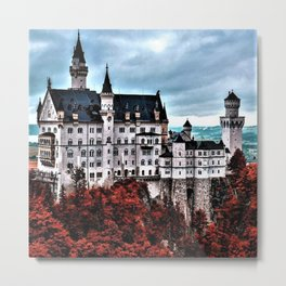 The Castle of Mad King Ludwig in the Autumn, Neuschwanstein Castle, Bavaria, Germany Metal Print