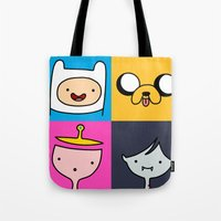 finn and jake Tote Bags featuring Finn & Jake by fungopolly