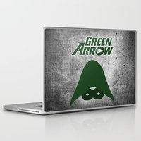 green arrow Laptop & iPad Skins featuring The Green Arrow by bivisual