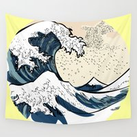 manga Wall Tapestries featuring japan manga sea hokusai by gran mike