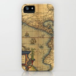 Antique Map of North and South America 1570 iPhone Case
