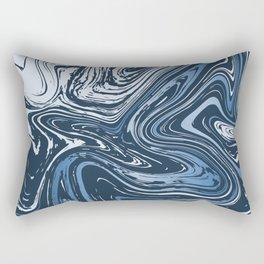 Navy Blue Liquid Marble Rectangular Pillow