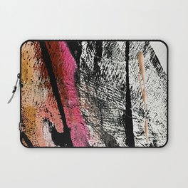 Motivation [2] : a colorful, vibrant abstract piece in pink red, gold, black and white Laptop Sleeve