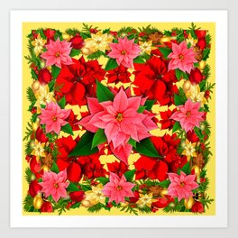 DECORATIVE  RED & PINK POINSETTIAS CHRISTMAS GREEN ART Art Print