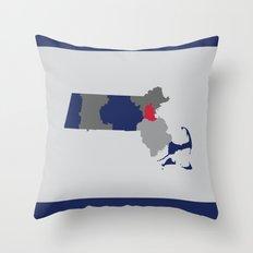 Massachusetts State Map Print Throw Pillow