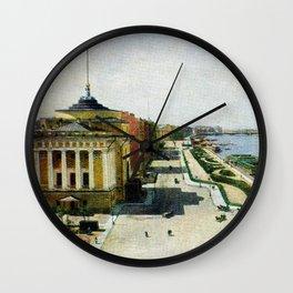Saint Petersburg Russia Neva river and Admiralty Wall Clock