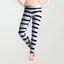 Navy Blue Stripes on White Leggings
