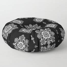 Black And White Fractal Mosaic Tiles Floor Pillow