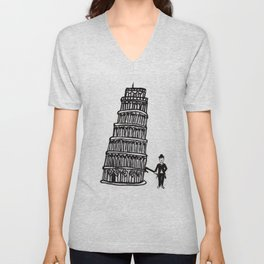 Tower of Pisa and a Chap Unisex V-Neck