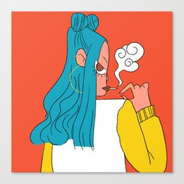 Blue hair girl Canvas Print