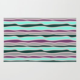 Geometrical mauve violet teal gray forest green stripes Rug