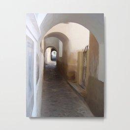 Santorini Alley 1 Metal Print