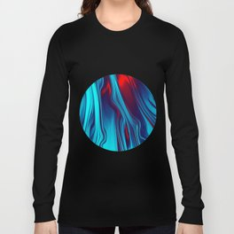 Teal With Red, Streaming Long Sleeve T-shirt