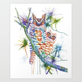 Momma and Baby Owls Art Print