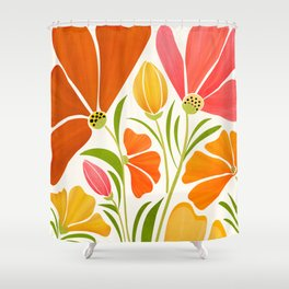 Spring Wildflowers / Floral Illustration Shower Curtain
