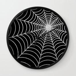 Spiderweb | Silver Glitter Wall Clock