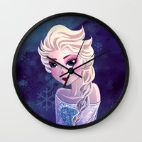 frozen elsa Wall Clocks featuring Elsa Frozen by Kaori
