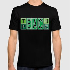 Teach Peace Black MEDIUM Mens Fitted Tee