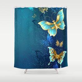 Golden Butterflies on a Blue Background Shower Curtain