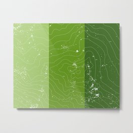 Green topographic map of a mountain Metal Print