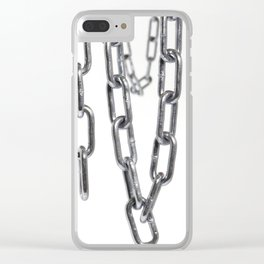 Chains hanging in front of white background Clear iPhone Case