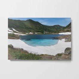 Stunning summer mountain landscape: Blue Lake, green forest on hillsides, blue sky on sunny Metal Print