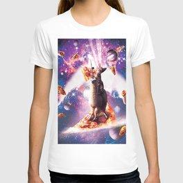 Laser Eyes Space Cat Riding On Surfing Llama Unicorn T-shirt