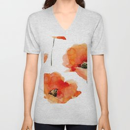 Modern hand painted orange watercolor poppies pattern Unisex V-Neck