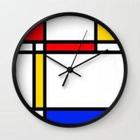 mondrian Wall Clocks featuring Mondrian by The Wellington Boot