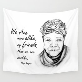 Maya Angelou Quote from Human Family Wall Tapestry