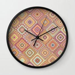 Granny's Millefiori Quilt-Spring Colors Wall Clock