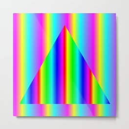 Two Rainbow Gradients One Triangle Reverse Metal Print
